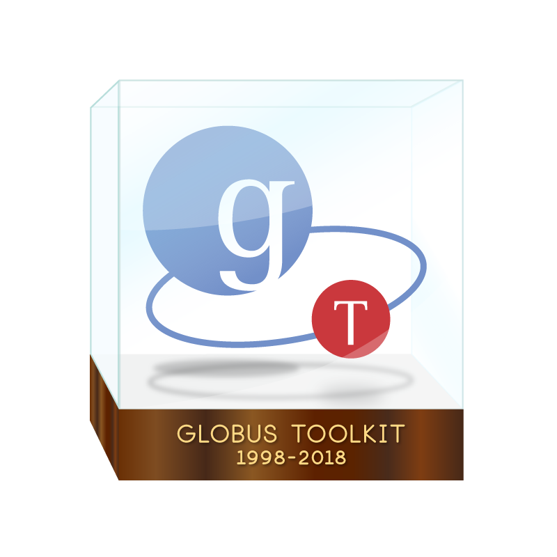 preserved globus toolkit logo with 1998-2018 placard